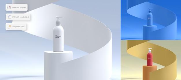 Bottiglia di lozione sul podio mockup con oggetto a spirale