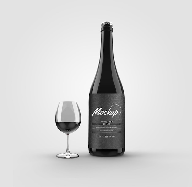 Bottiglia con mockup di bicchiere di vino