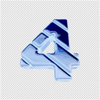 Vista dal basso dei numeri dal ghiaccio blu. 3d numero 4