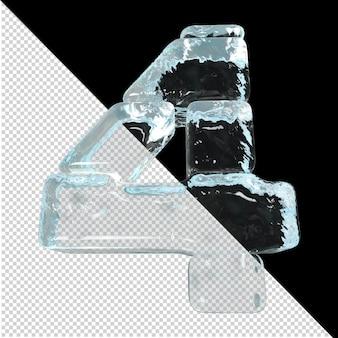 Vista dal basso dei numeri realizzati con lingotti di ghiaccio. 3d numero 4