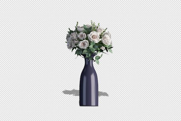Mazzo dell'orchidea in un vaso nel rendering 3d