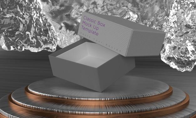 Scatola mock up piedistallo a tre cilindri con display scenico a colori modificabile con sfondo di ghiaccio