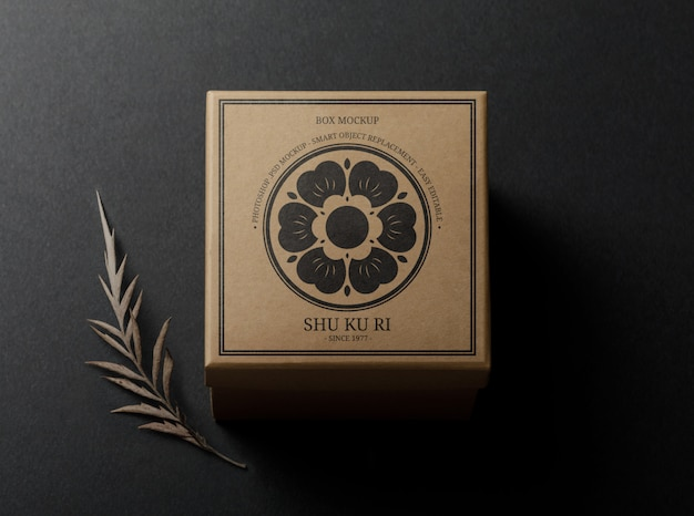 Modello di scatola mockup con foglie secche