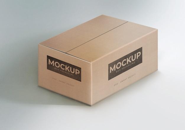 Modello di mockup di cartone di imballaggio scatola