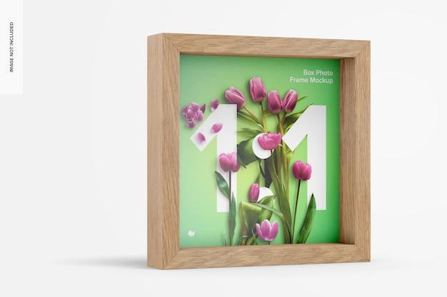 Box photo frame mockup, vista sinistra