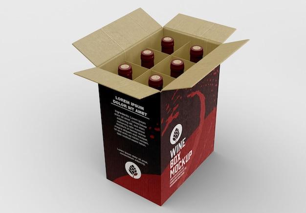 Scatola per mockup di bottiglie di vino