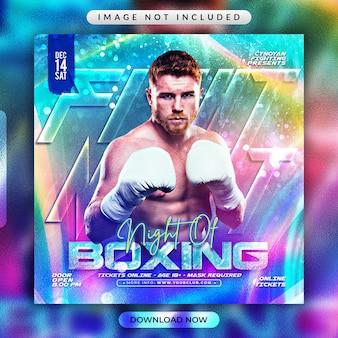 Volantino di boxe o modello di banner per social media