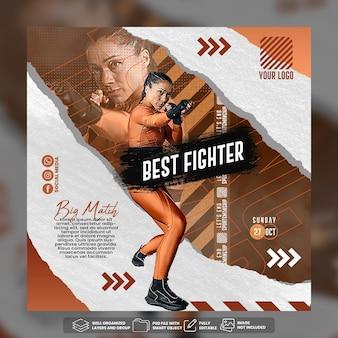 Modello di post sui social media per volantini di boxe psd premium