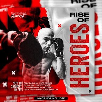 Social media e modello di post di instagram degli eroi della boxe