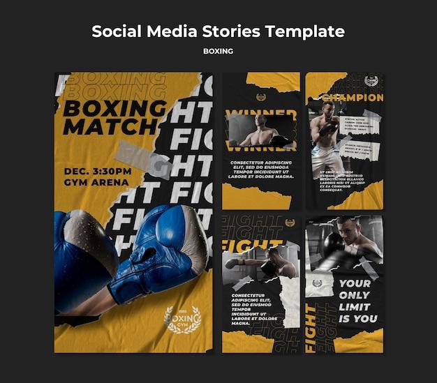 Modello di storie sui social media di boxe