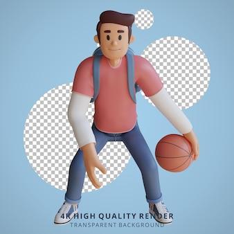 Illustrazione del personaggio 3d della mascotte del basket del ragazzo
