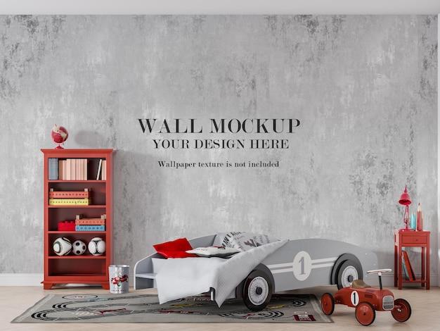 Mockup della parete della camera da letto del ragazzo dietro il letto dell'auto