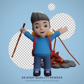 Illustrazione del carattere 3d della mascotte del campeggio del ragazzo felice