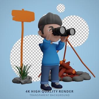 L'illustrazione del personaggio 3d della mascotte del campeggio del ragazzo vede con il binocolo