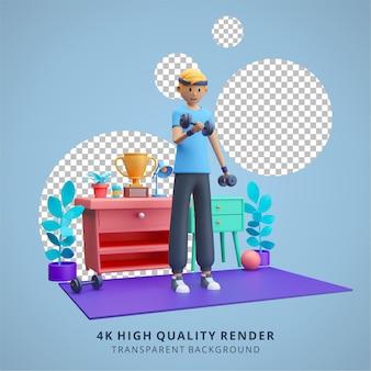 Ragazzo che fa allenamento con i pesi a casa resta a casa illustrazione 3d di alta qualità render