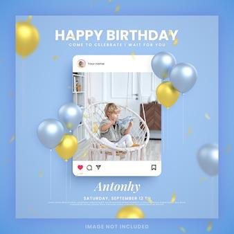 Scheda dell'invito di buon compleanno del ragazzo per il modello di post di social media di instagram blu con mockup
