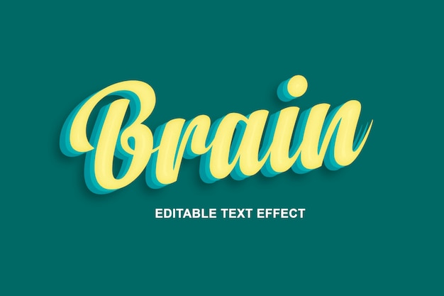 Cervello: fantastici effetti di testo psd
