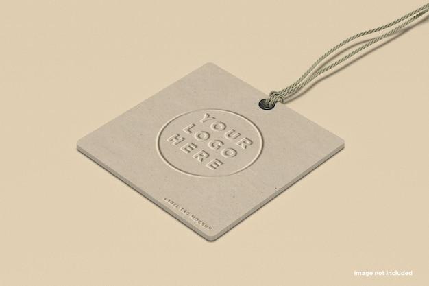 Mockup di tag etichetta del marchio