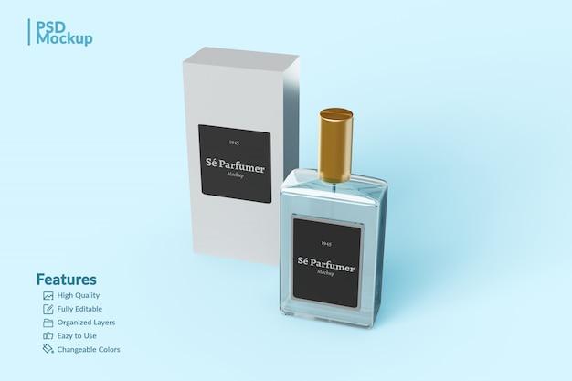 Mockup modificabile di bottiglia e scatola di profumo con marchio