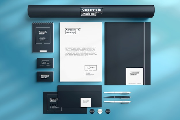 Branding corporate id mock-up set vista dall'alto