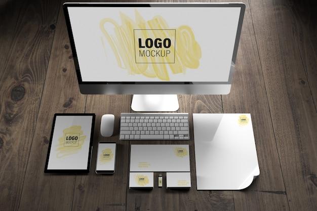 Elementi di branding e mockup di dispositivi