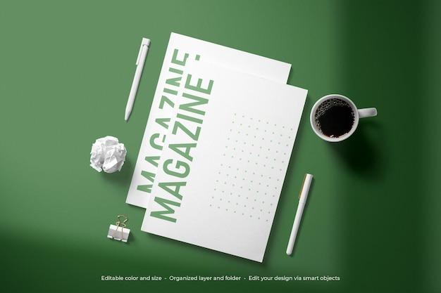 Mockup di copertina di riviste di cancelleria di branding