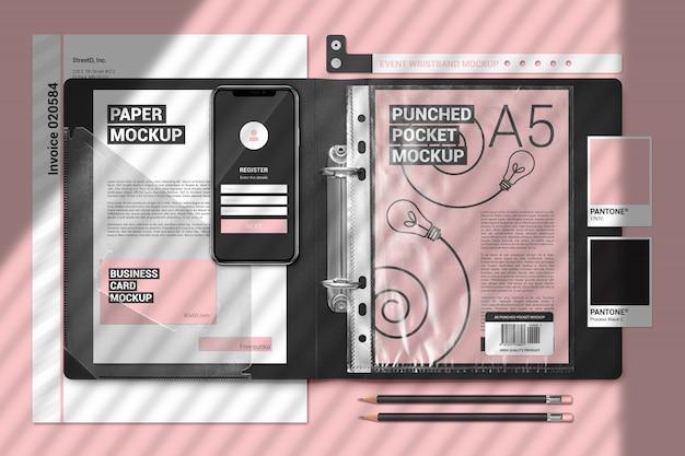 Elementi decorativi del marchio mock up