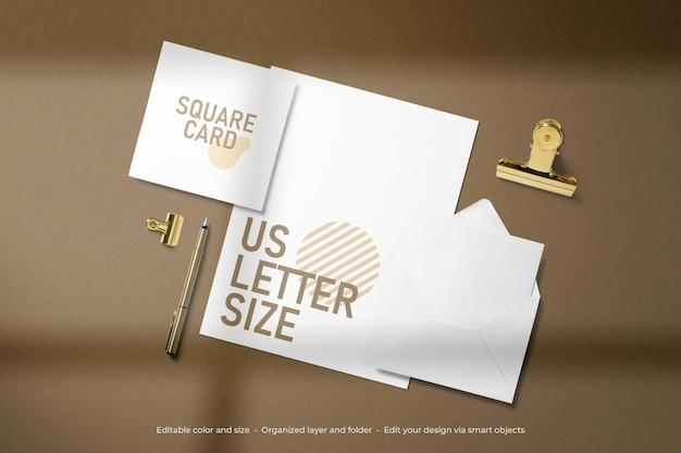 Mockup di lettere e carte usa di cancelleria per il branding Psd Premium
