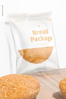 Mockup del pacchetto di pane, appoggiato