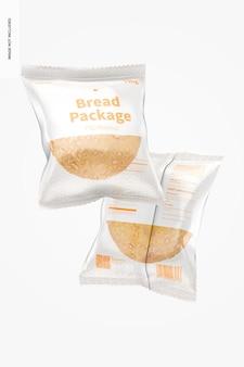 Pacchetti di pane mockup, galleggiante