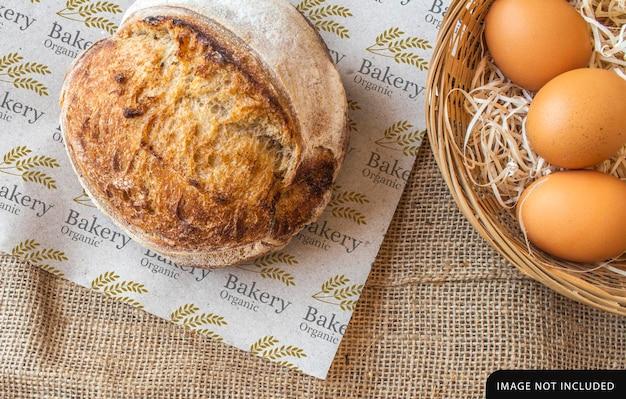 Progettazione di mockup di carta da imballaggio per pane