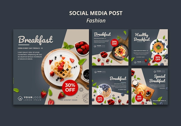 Modello di post sui social media per l'ora della colazione