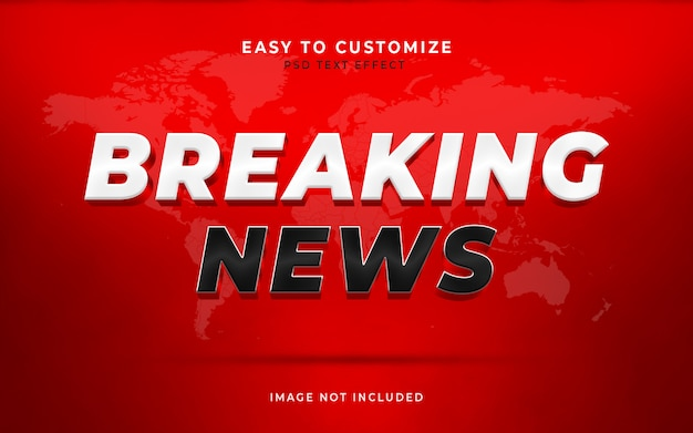 Scena personalizzata del modello di effetto testo stile breaking news 3d