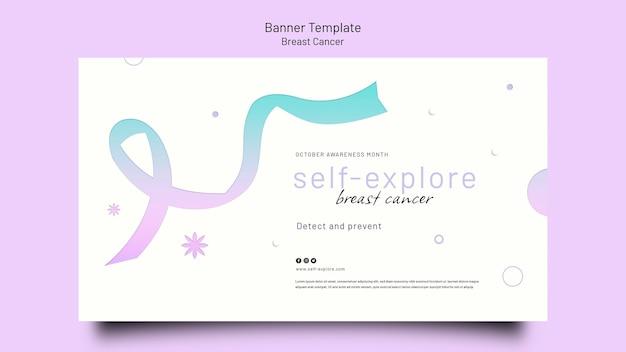 Modello di banner orizzontale per la consapevolezza del cancro al seno