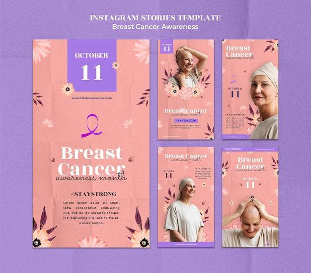 Modello di progettazione di storie di instagram di consapevolezza del cancro al seno