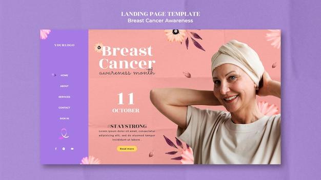 Modello di progettazione della pagina di destinazione della consapevolezza del cancro al seno