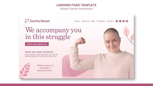 Modello di pagina di destinazione per la consapevolezza del cancro al seno