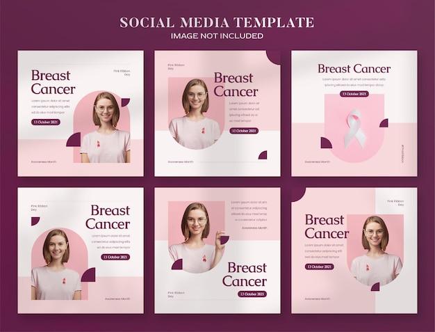 Banner sui social media del mese di sensibilizzazione sul cancro al seno e modello di post su instagram