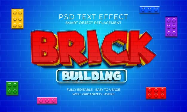 Modello di effetto testo gioco di costruzione di mattoni