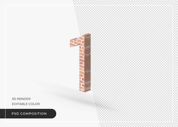 Effetto mattone numero numerico 1 isolato rendering 3d