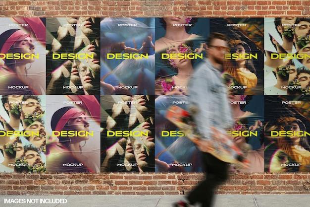 Muro di mattoni con scena di mockup di poster incollati