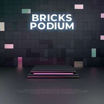 Visualizzazione del prodotto del podio 3d dei mattoni