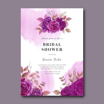 Modello di carta nuziale doccia con rose viola dell'acquerello