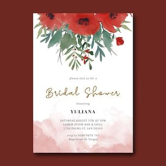 Modello di doccia nuziale con bouquet di fiori rossi dell'acquerello