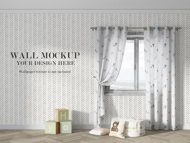 Design luminoso del mockup della parete della stanza del bambino