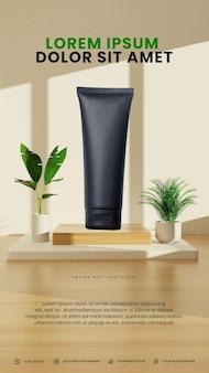 Podio interno minimalista luminoso giorno con pianta tropicale
