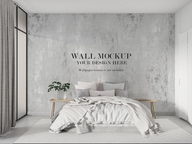 Parete mockup camera da letto moderna luminosa