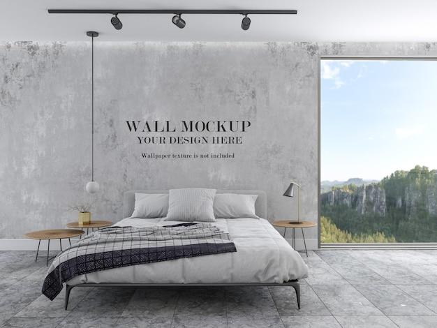 Mockup di parete della camera da letto luminosa e moderna