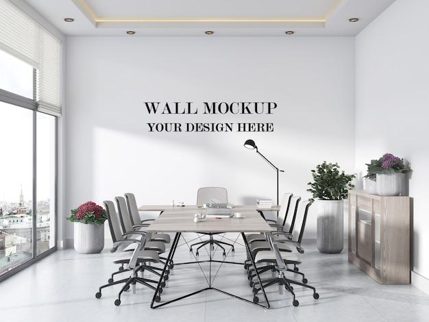 Mockup di parete della sala riunioni panoramica moderna e luminosa