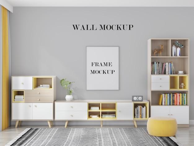 Mockup di parete e cornice della stanza luminosa